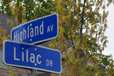 Intersection of Highland Avenue and Lilac Drive, the northernmost point of Elmwood Manor.