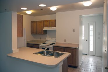Kitchen in a Two Story Townhouse.