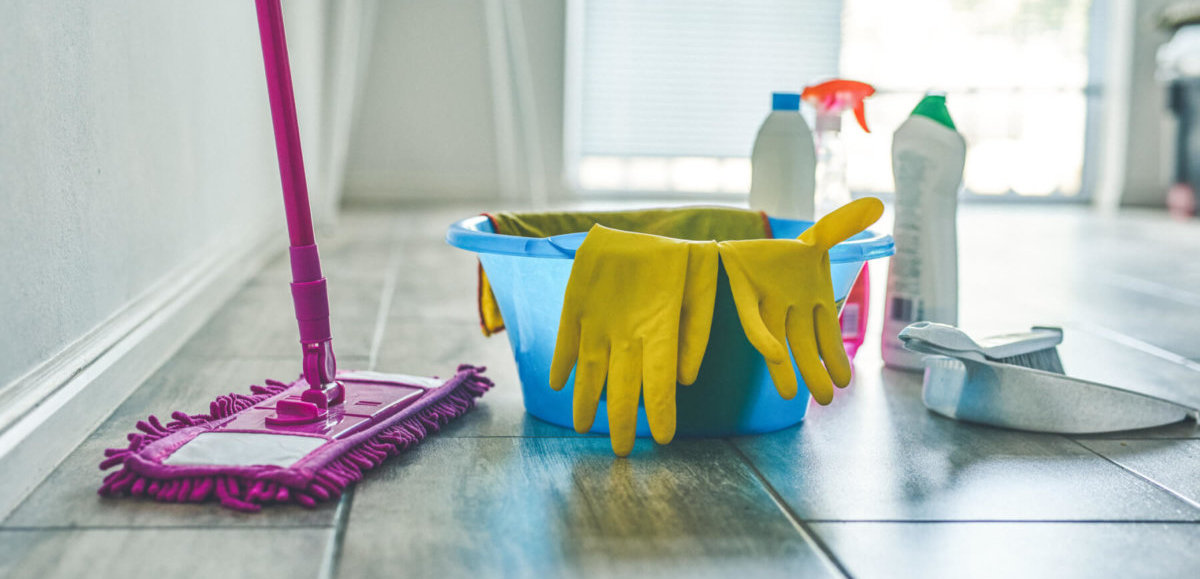 Dust mop, bucket, cleaning gloves, and spray cleaner